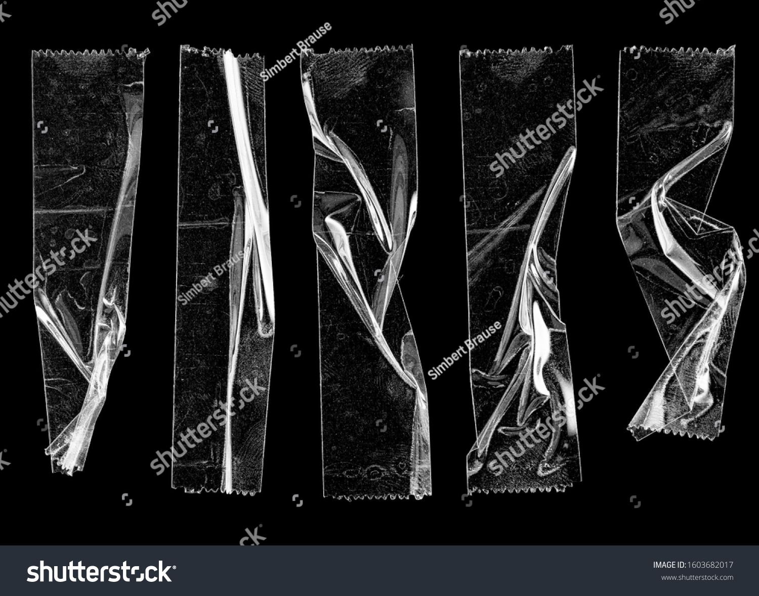 set of transparent adhesive tape or strips isolated on black background, crumpled plastic sticky snips, poster design overlays or elements.  #1603682017