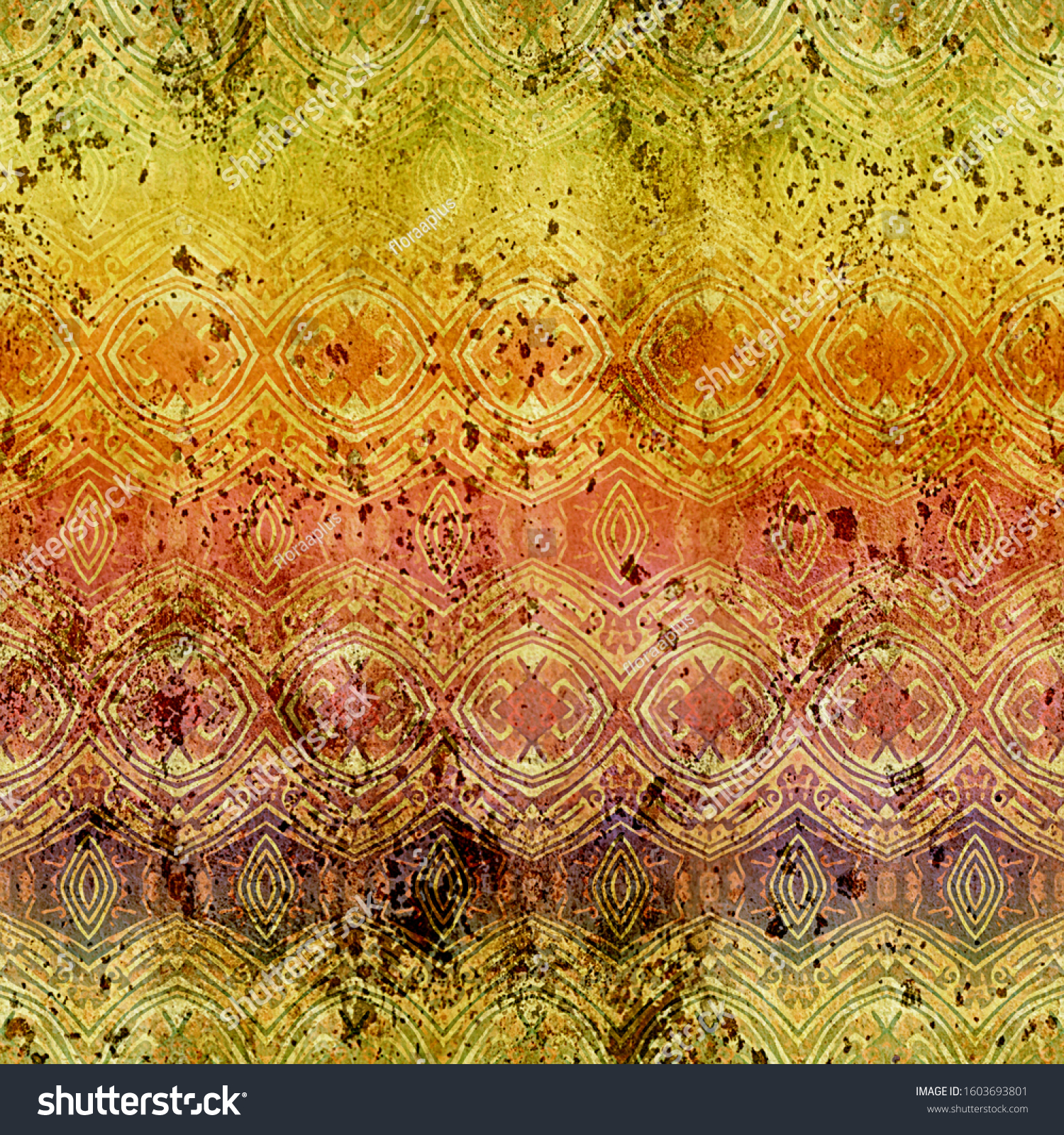 Colorful seamless shabby geometric pattern 2. Artificial ethnic background for manual creativity, and mass production of various goods.