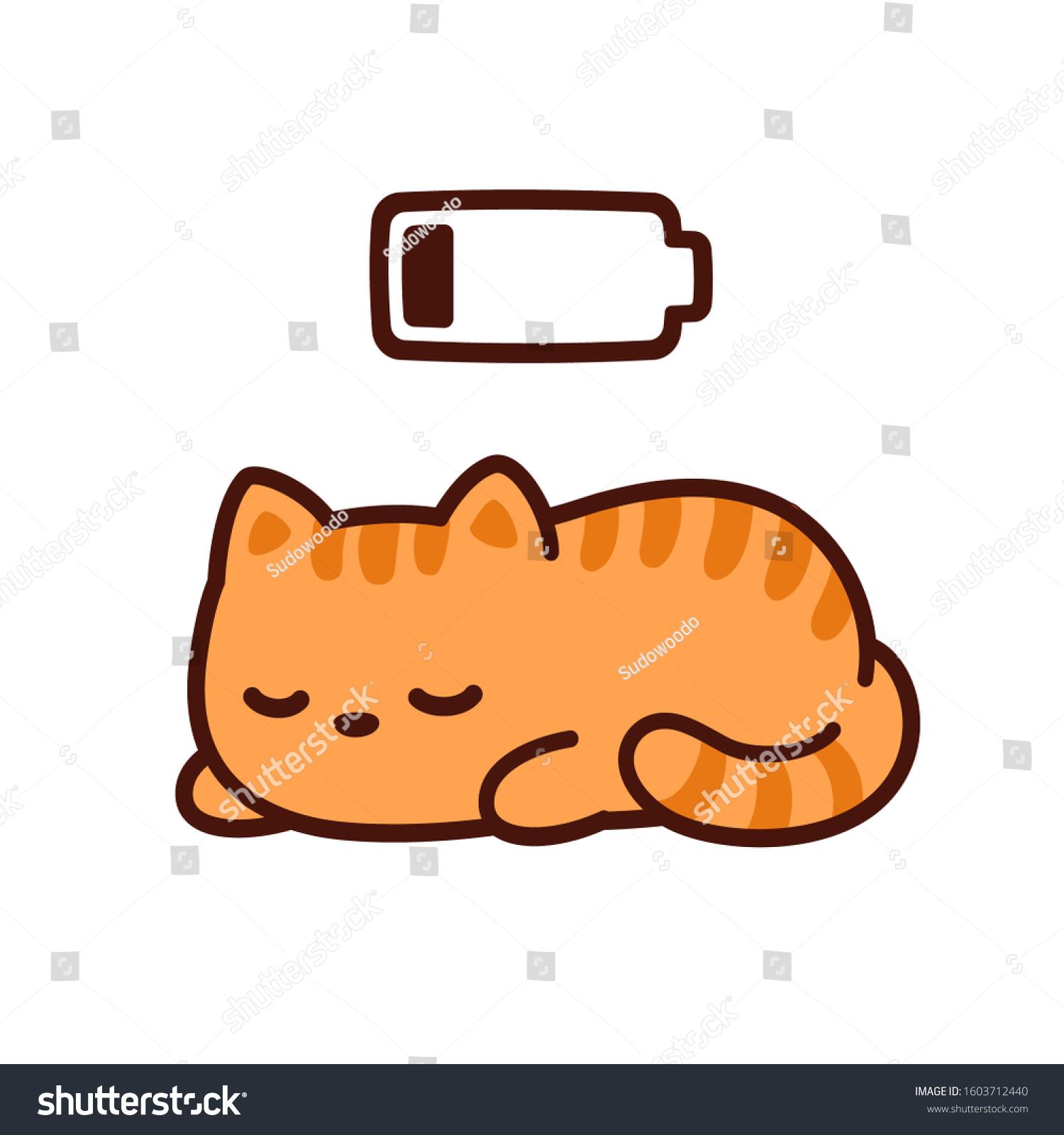 Cute Cartoon Kitten Taking Power Nap Stock Vector Royalty Free