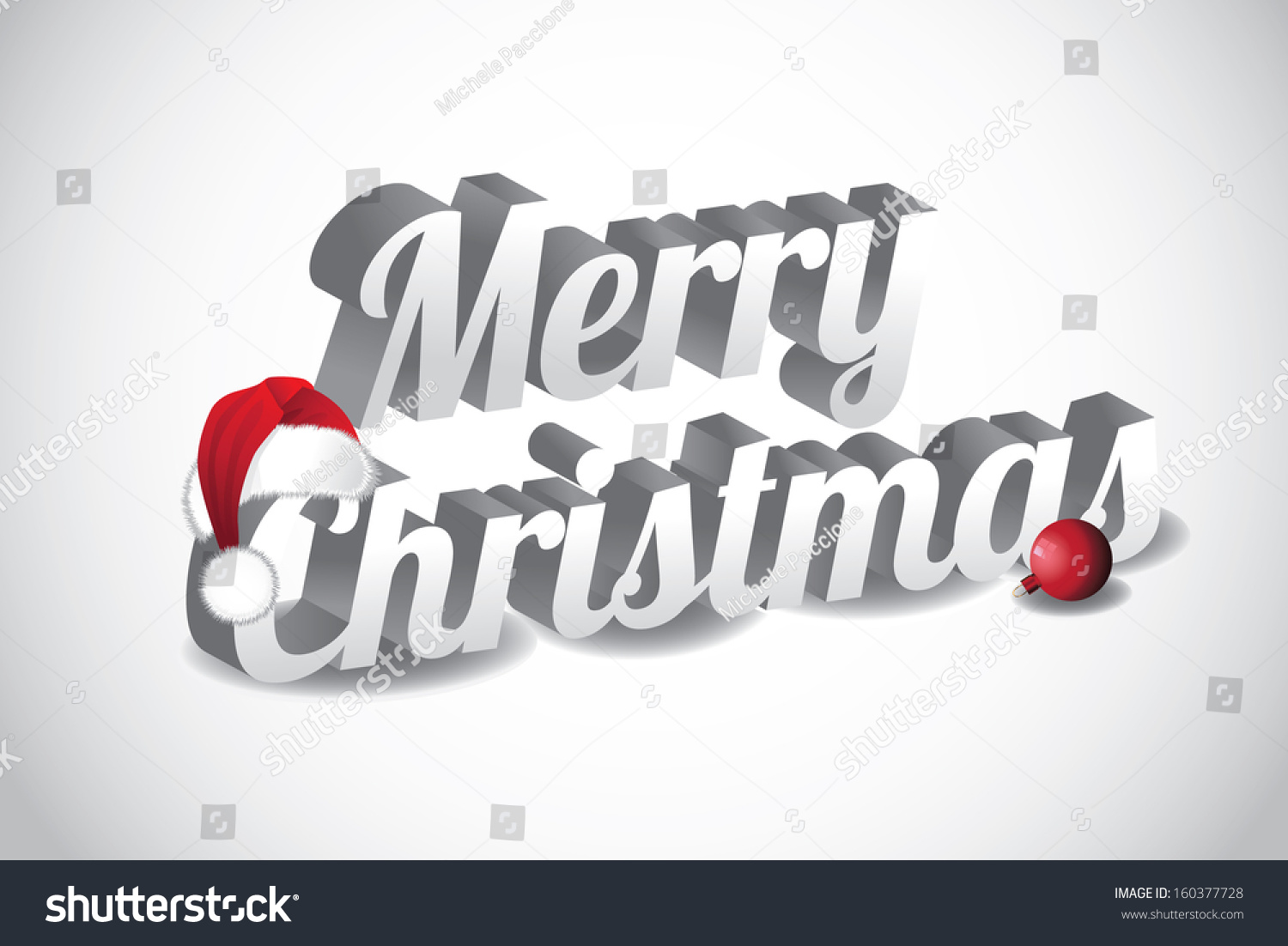 3d merry christmas words wearing a santa hat eps 10 vector grouped for easy
