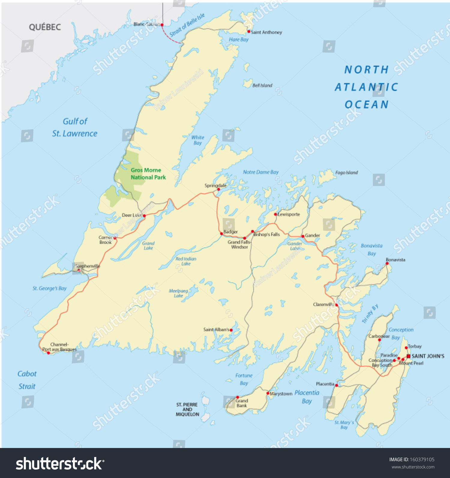 Newfoundland Road Map Stock Vector 160379105 - Shutterstock on canada map, laurentian mountains map, nova scotia map, alberta map, new brunswick map, yucatan peninsula map, quebec map, europe map, hispaniola map, hudson bay map, iceland map, manitoba map, bahamas map, avalon peninsula map, new mexico map, british columbia map, north america map, world map, labrador map, greenland map,