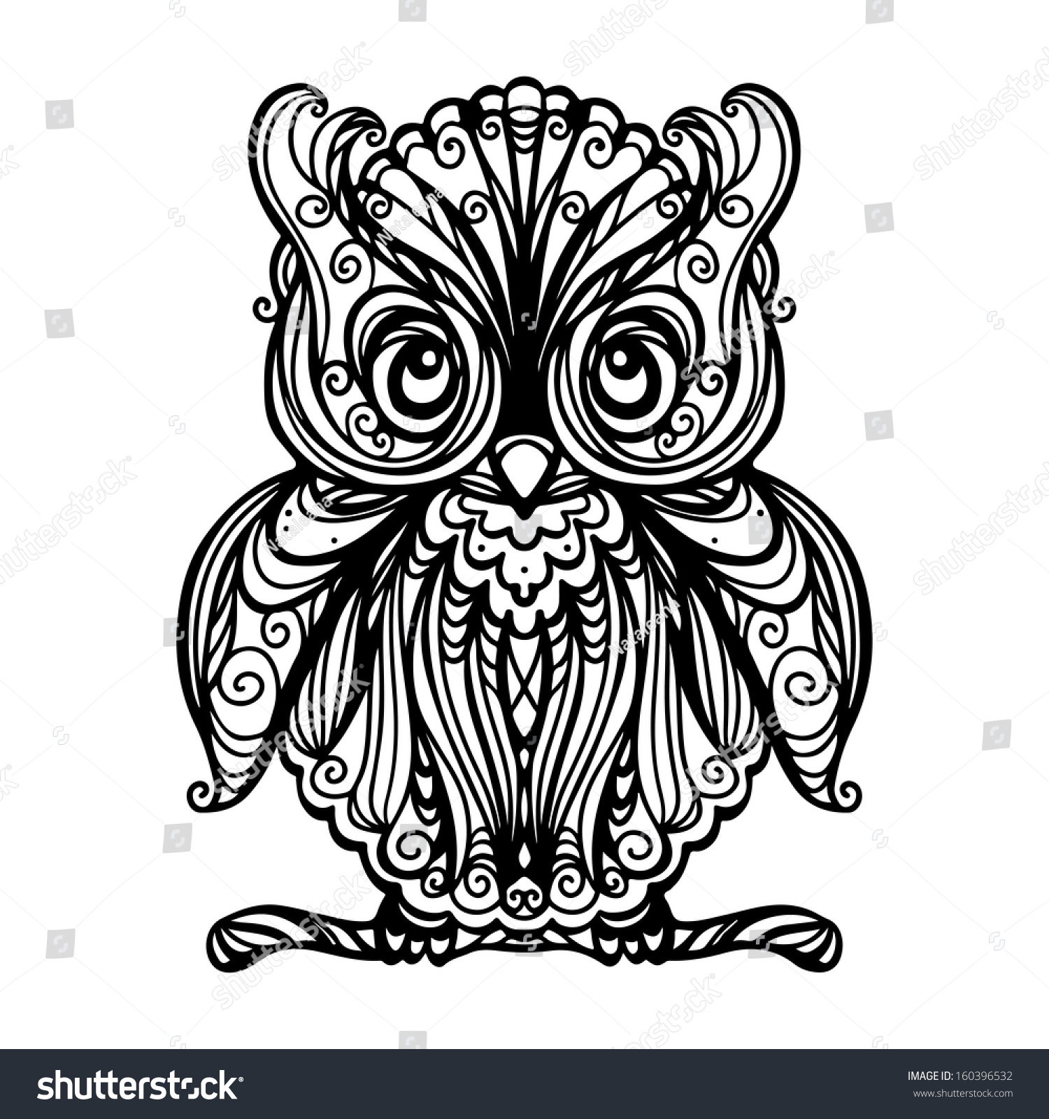 owl isolated black white vector stock vector 160396532