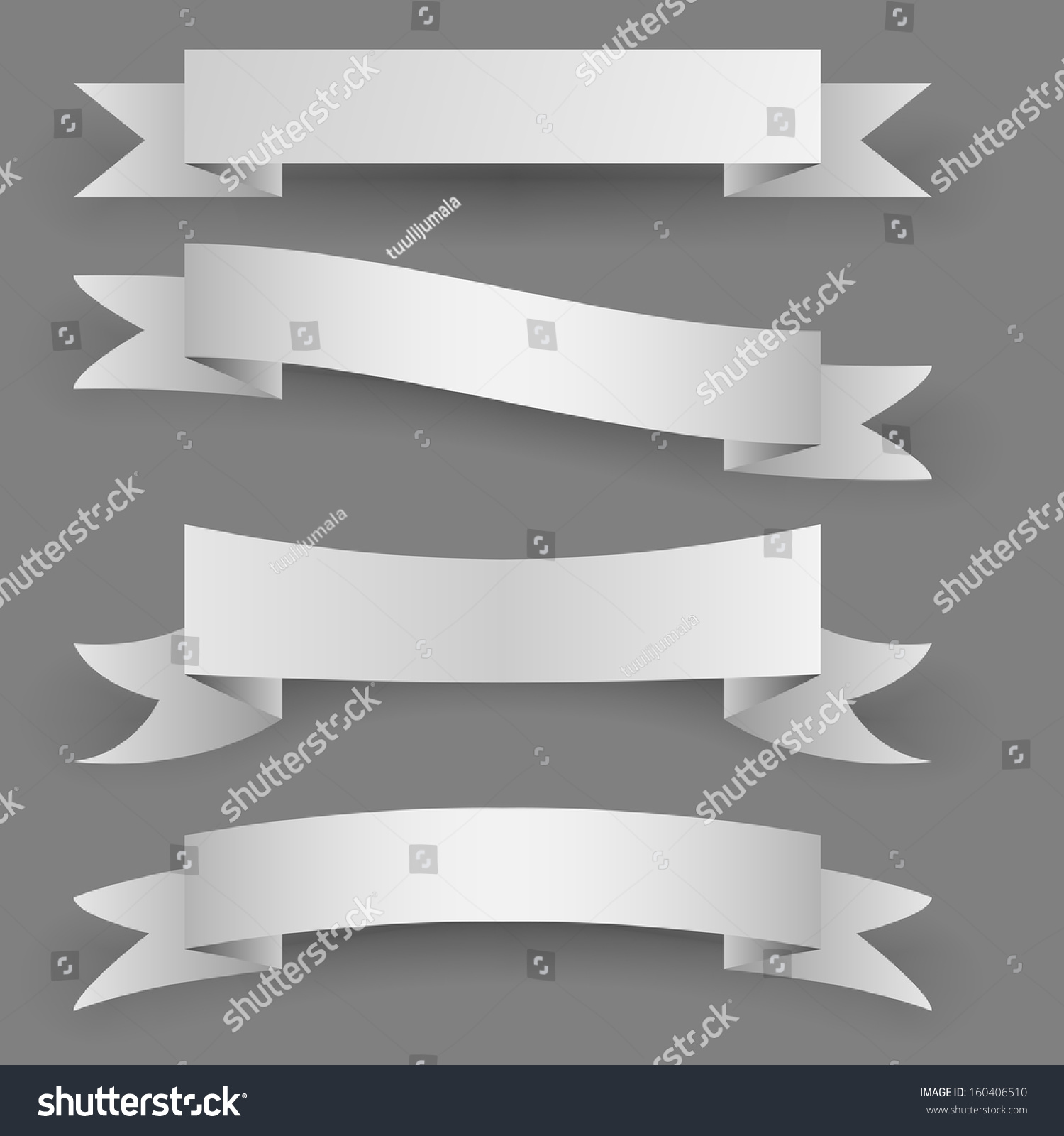 Blank Paper Banners Shadow Template Isolated Stock Vector ...