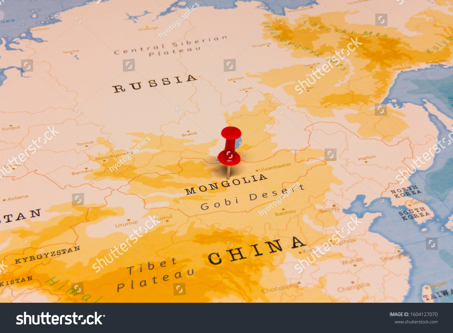 Red Pin On Mongolia World Map Stock Photo Edit Now 1604127070