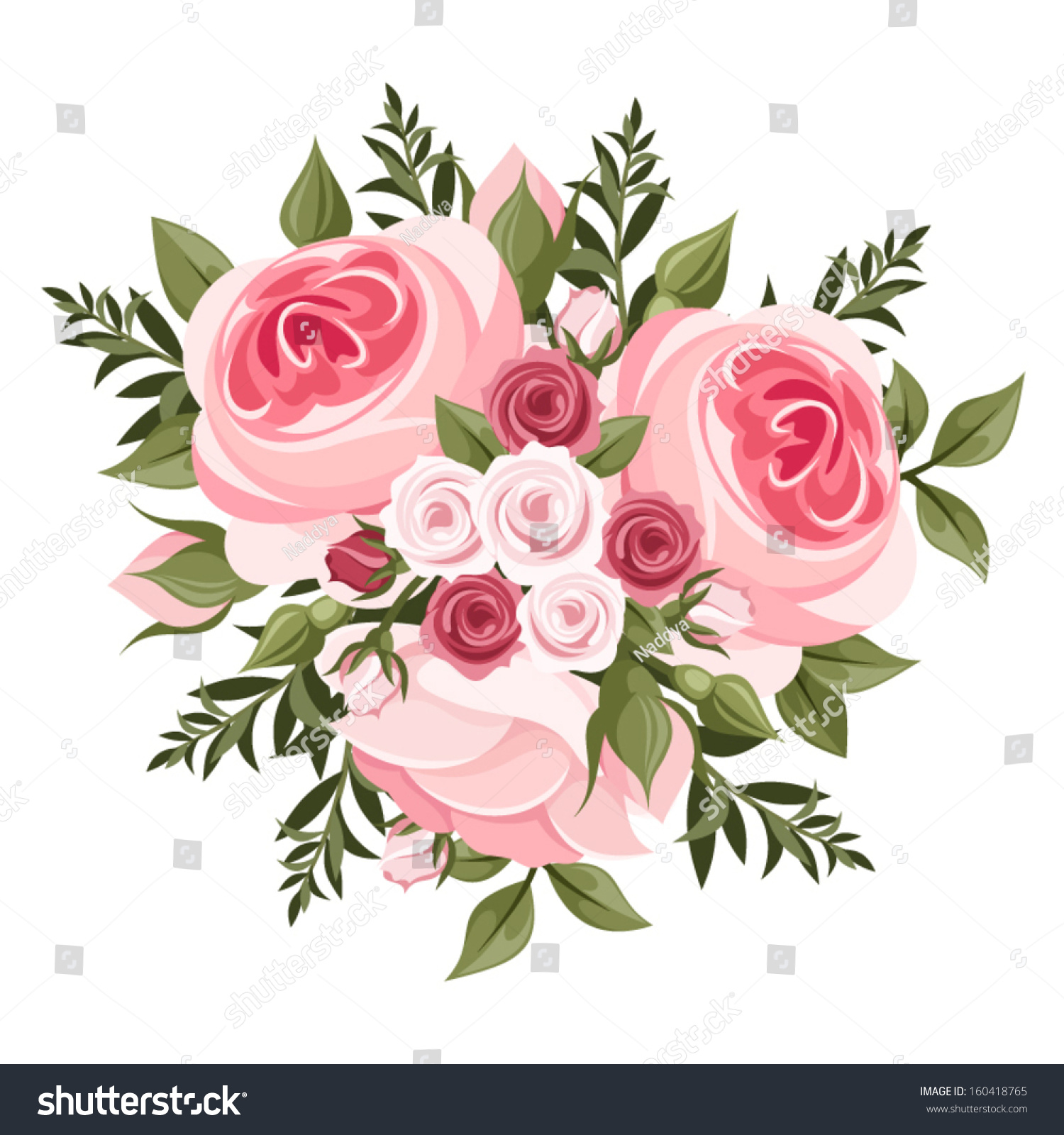 Pink Roses Bouquet Vector Illustration Stock Vector Royalty Free