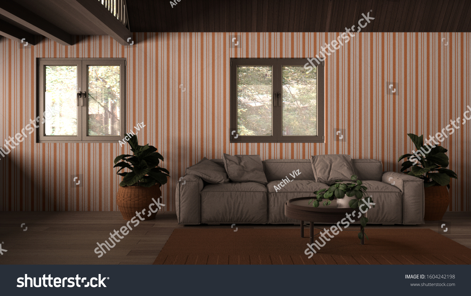 Country House Living Room Lounge Wooden Stock Illustration 1604242198