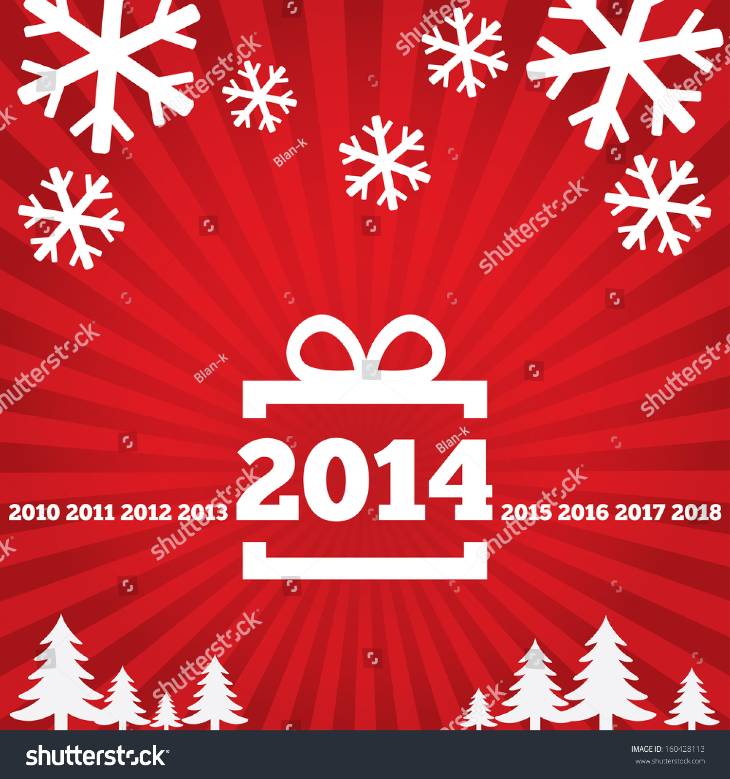 Happy New Year Greeting Card Flat Stock Vector Royalty Free