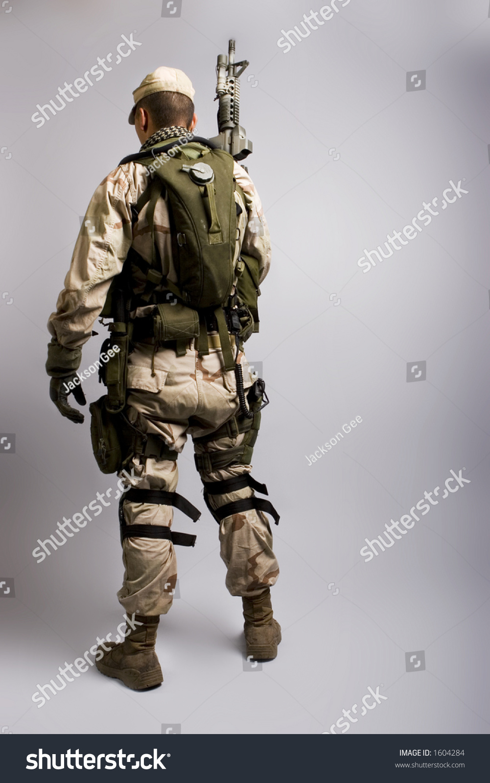 Desert Storm Soldier Army Dressed Camo Stock Photo 1604284