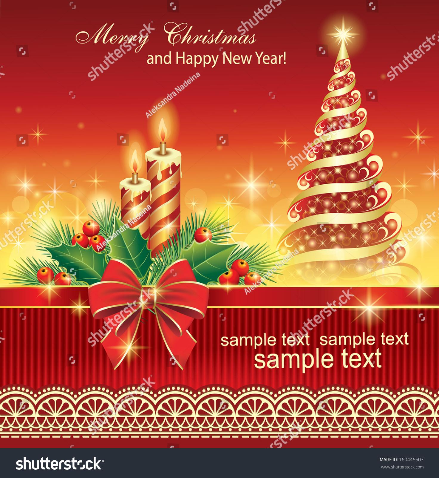 Christmas Card Christmas Tree Candles Stock Vector 160446503