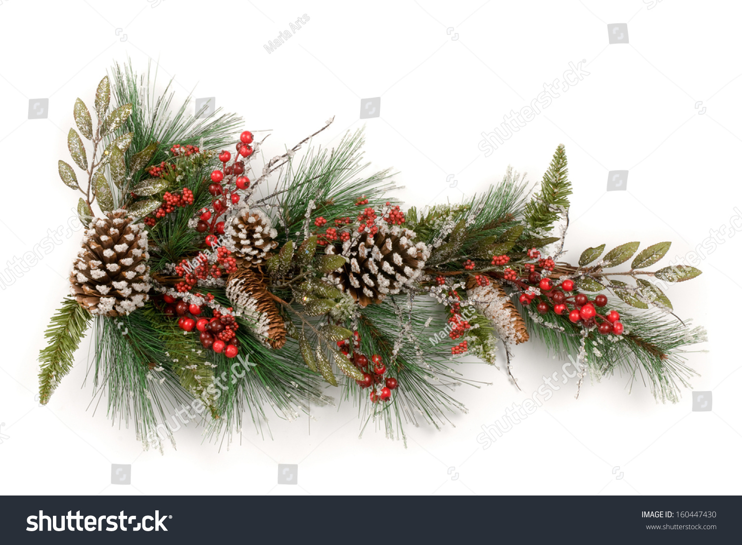 merry christmas and happy new year a christmas garland made from conifer sprigs with red