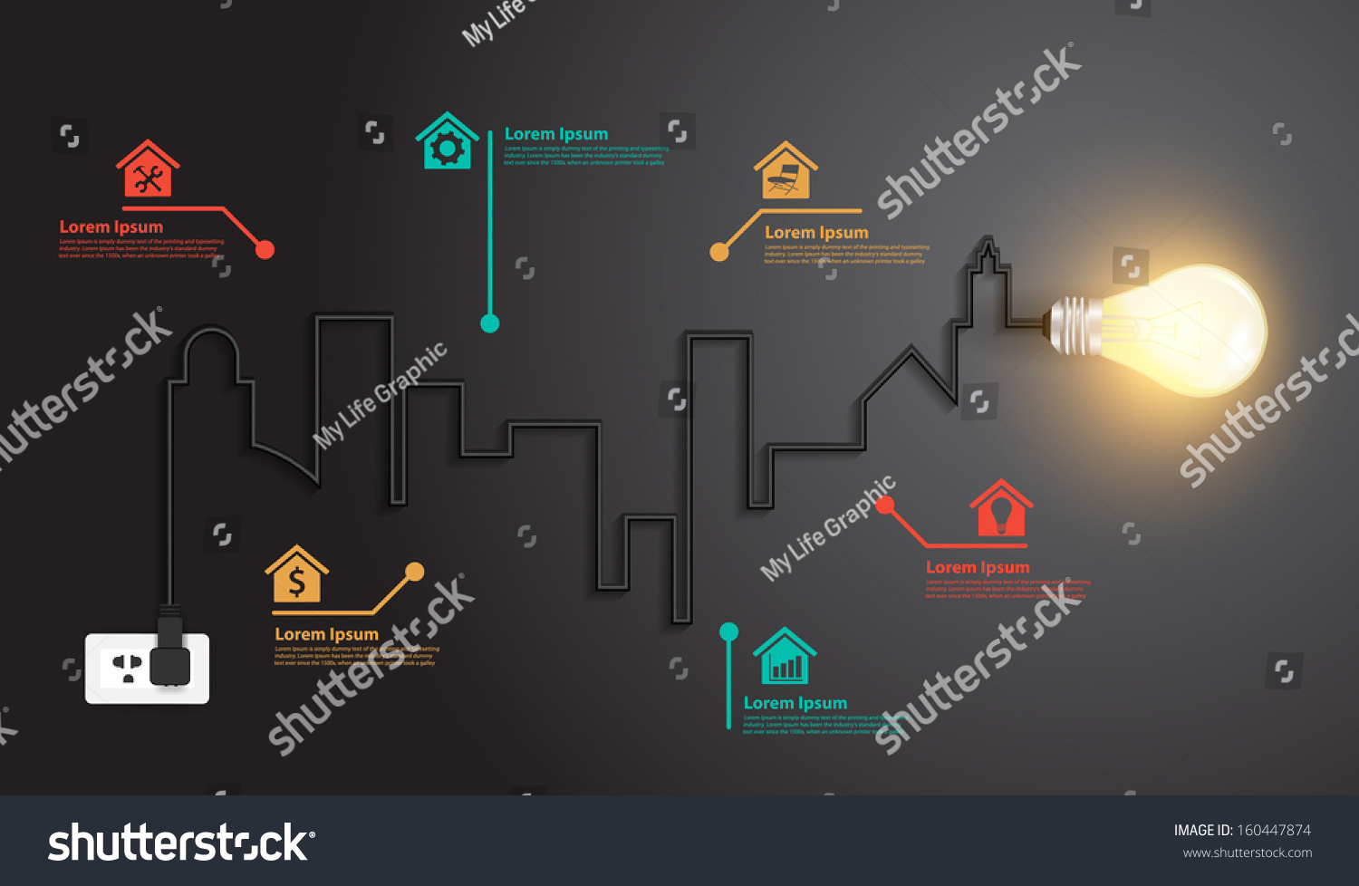 Creative Wire Light Bulb Idea Buildings Stock Vector Royalty Free Schematic And Landmarks Inspiration Concept Abstract Info Graphics Modern Design