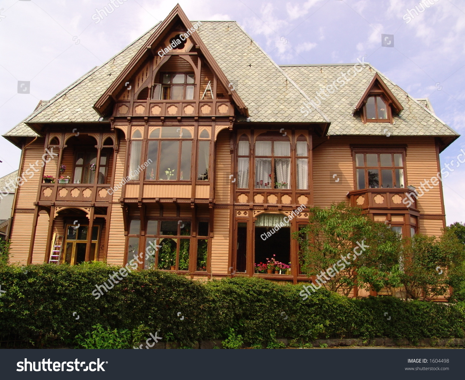 all beauty old traditional wooden house stock photo