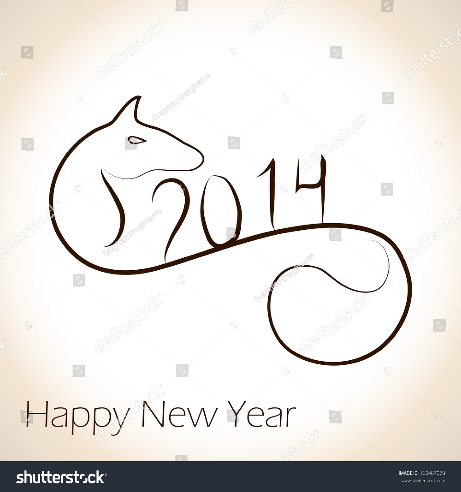 Beautiful Horse Style 2014 Calligraphy New Stock Vector