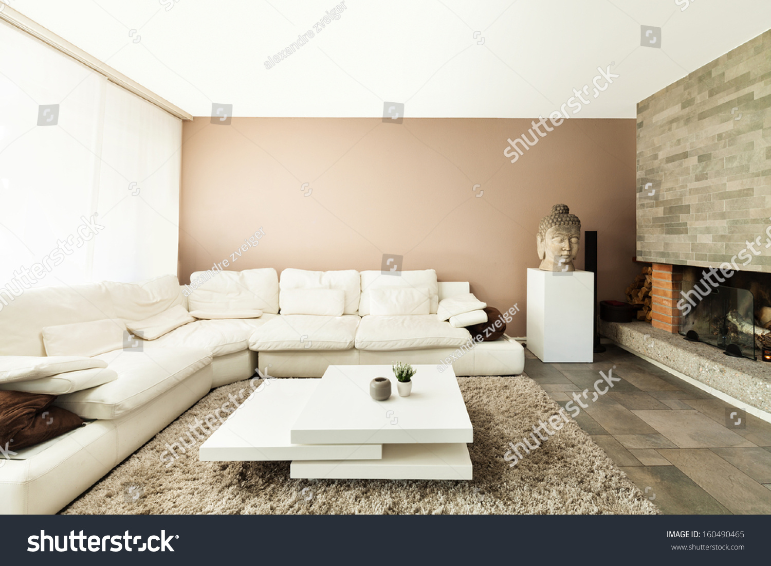 Interior Beautiful Apartment Luxurious Living Room Stock Photo (Safe ...