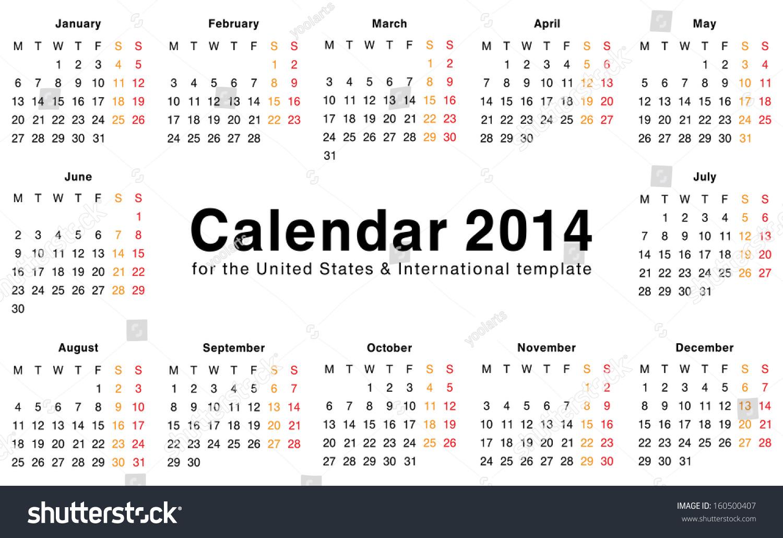 Calendar 2014 Template Design Blank Printable Stock Illustration ...