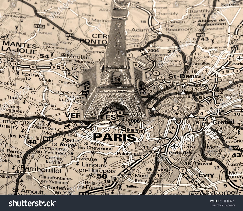 Eiffel Tower On Map Paris Short Stock Photo Edit Now 160508651