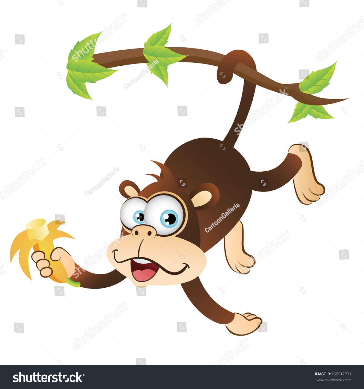 Cartoon monkeys hanging from a tree - photo#22