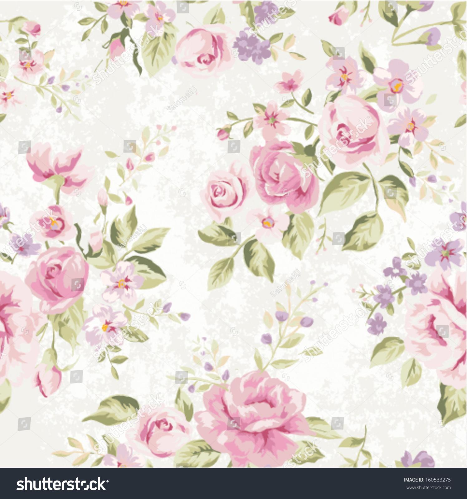 Seamless Classic Wallpaper Vintage Flower Pattern Stock