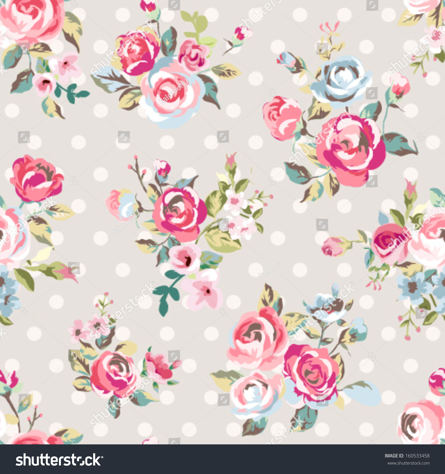 Seamless Cute Vintage Rose Flower Pattern Stock Vector ...
