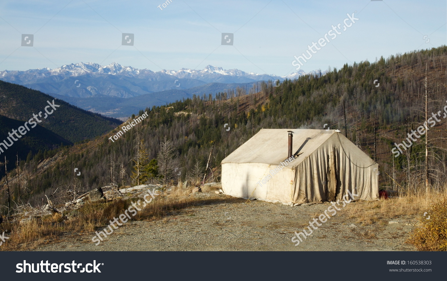 Deer Hunting Camp Mountains Old Canvas Stock Photo