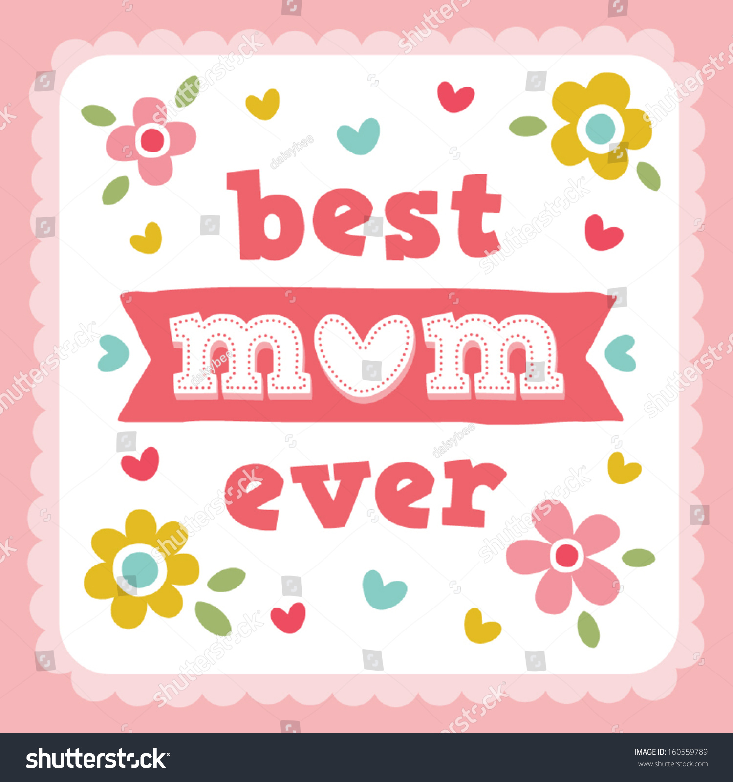Vector Happy Mothers Day Card Design Stock Vector 160559789 ...