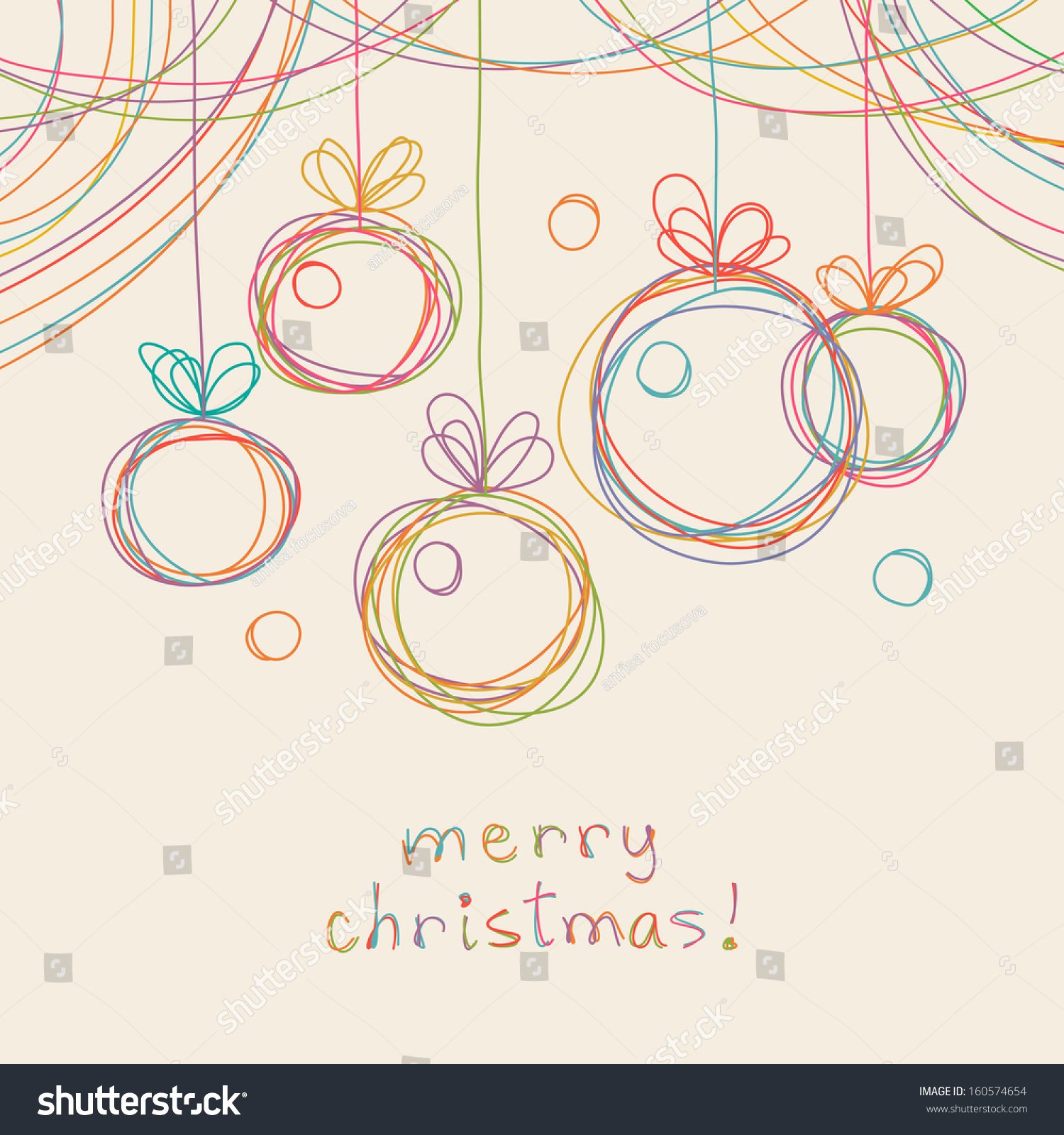 Vector Christmas Doodle Background Cute Balls In Hand Drawn Childish Sketch Style Invitation