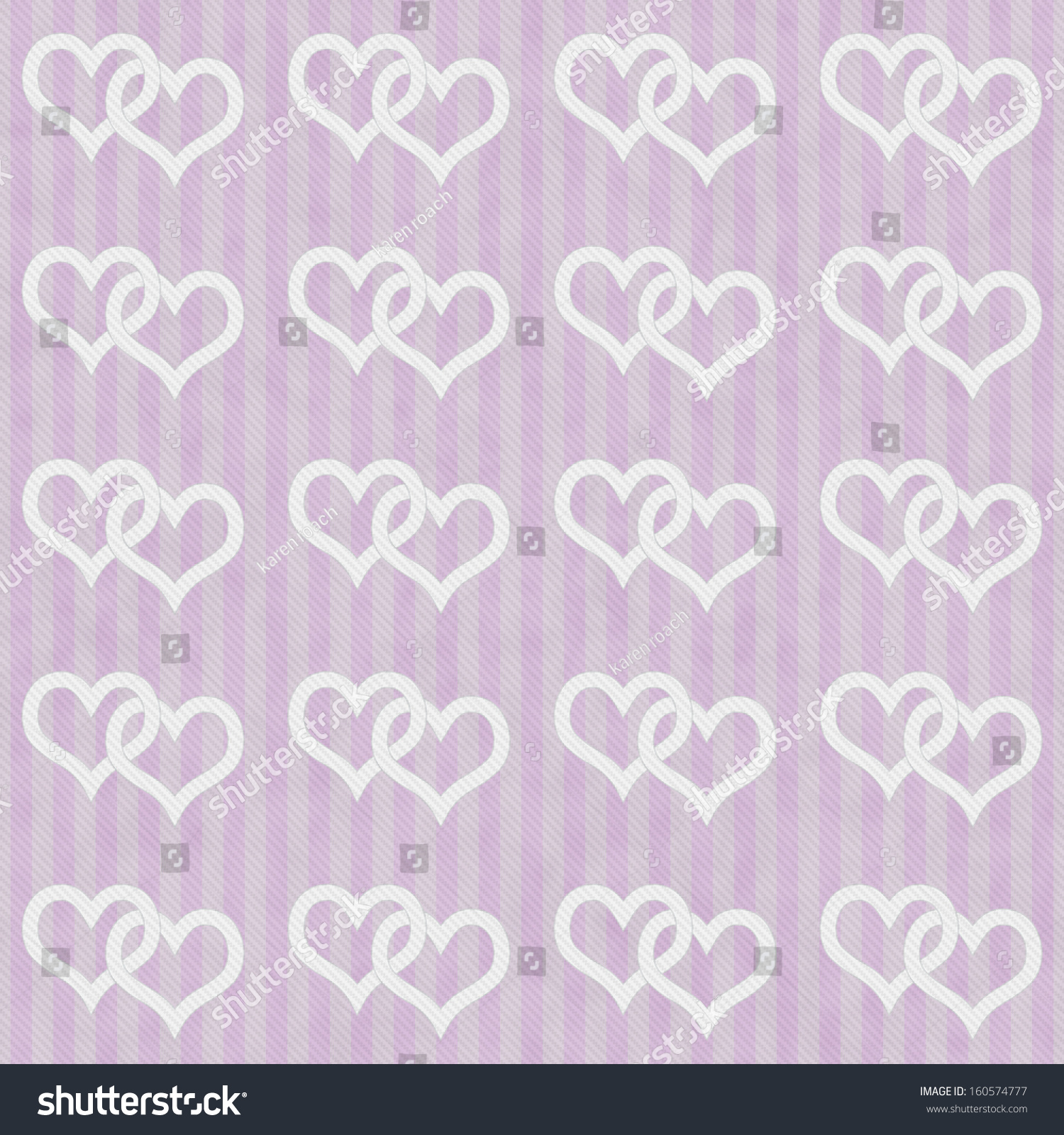 pink and white hearts and stripes textured fabric background that is
