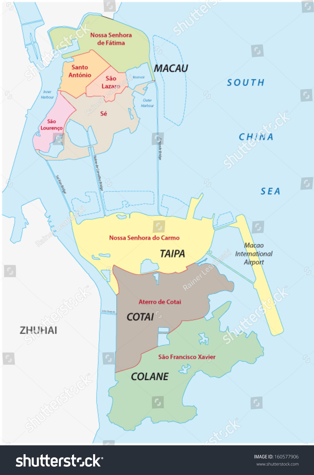 Macau Administrative Map Stock Vector 160577906 Shutterstock