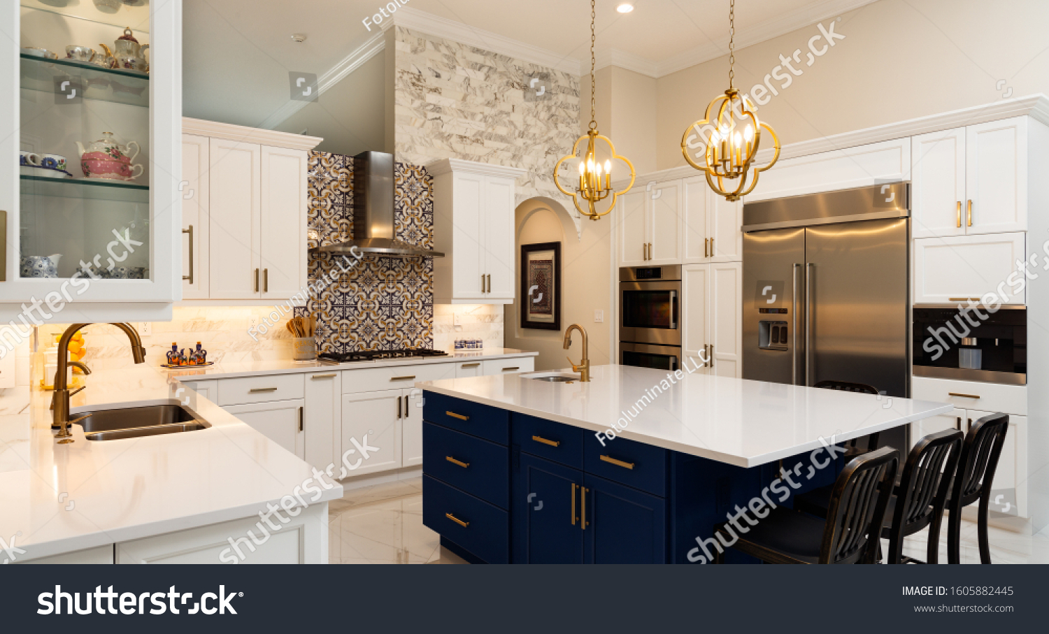 Beautiful luxury home kitchen with white cabinets. #1605882445