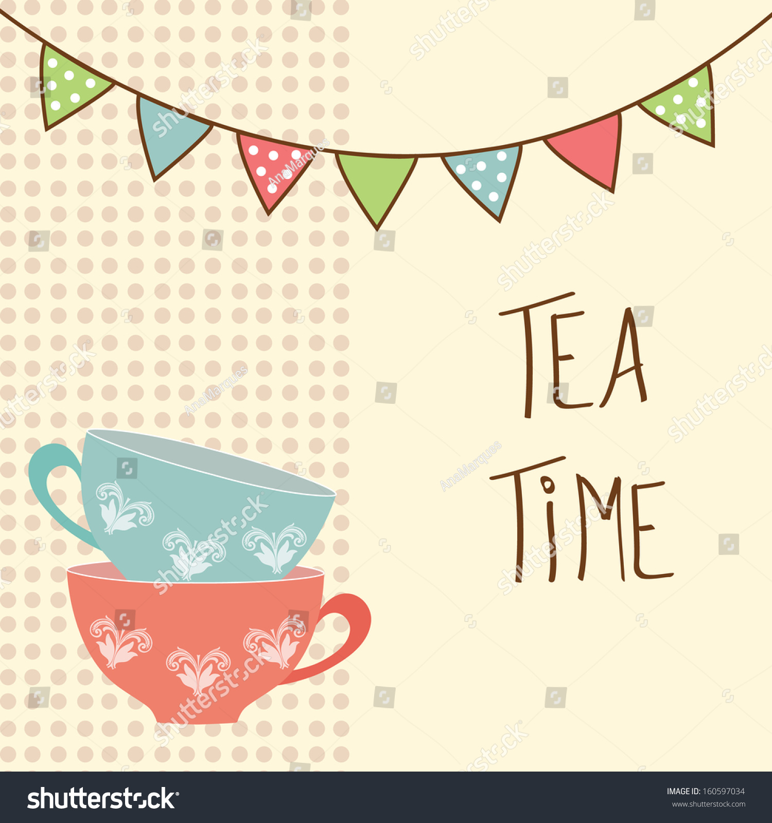 Vector bunting flags lovely celebration card with colorful paper - Beautiful Vintage Card With Tea Cups And Flags Tea Time Vector Illustration