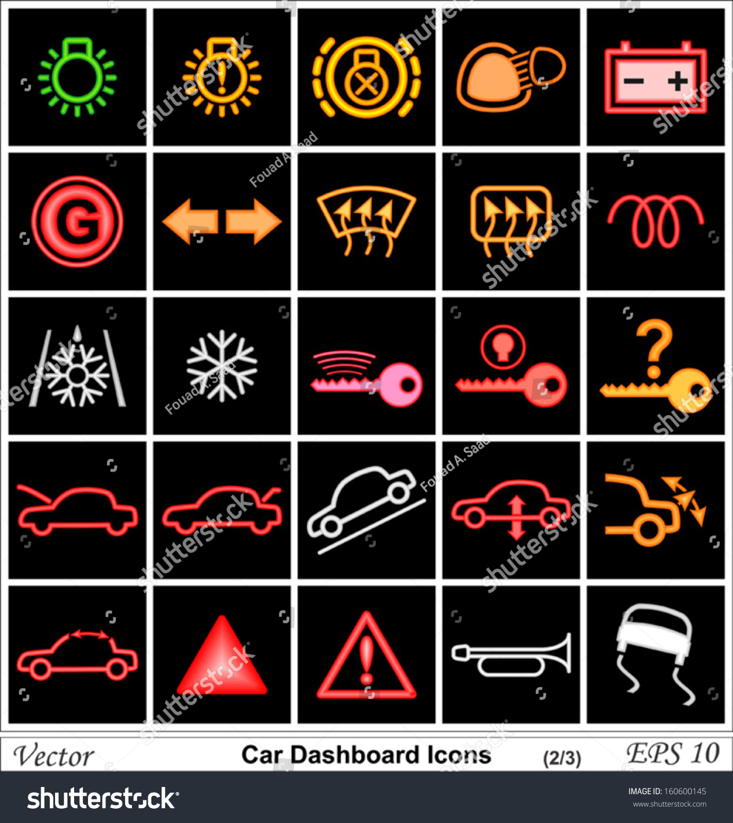 Car dashboard vector icons stock vector 160600145 shutterstock