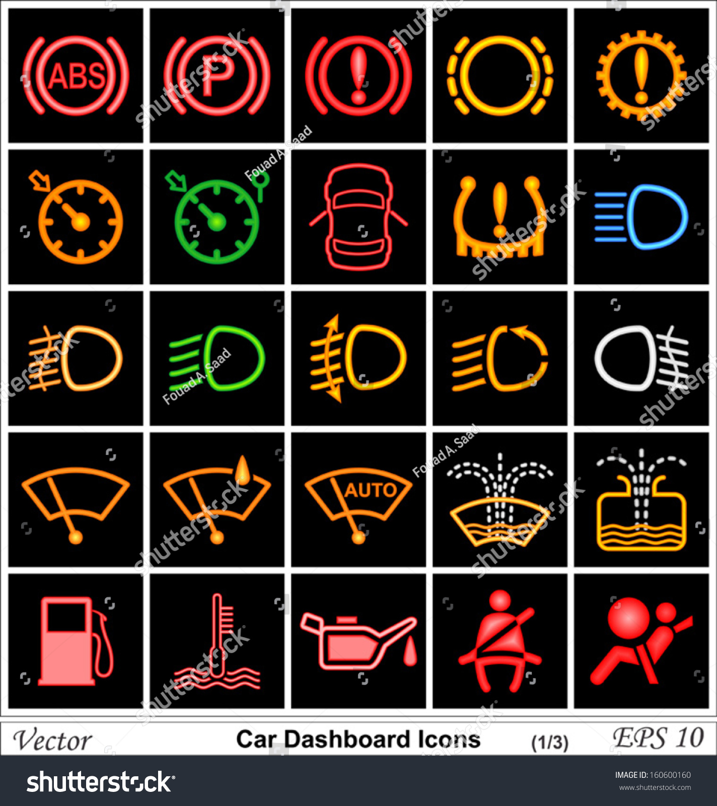 Car Dashboard Vector Icons Stock Vector Shutterstock - Car sign on dashboard