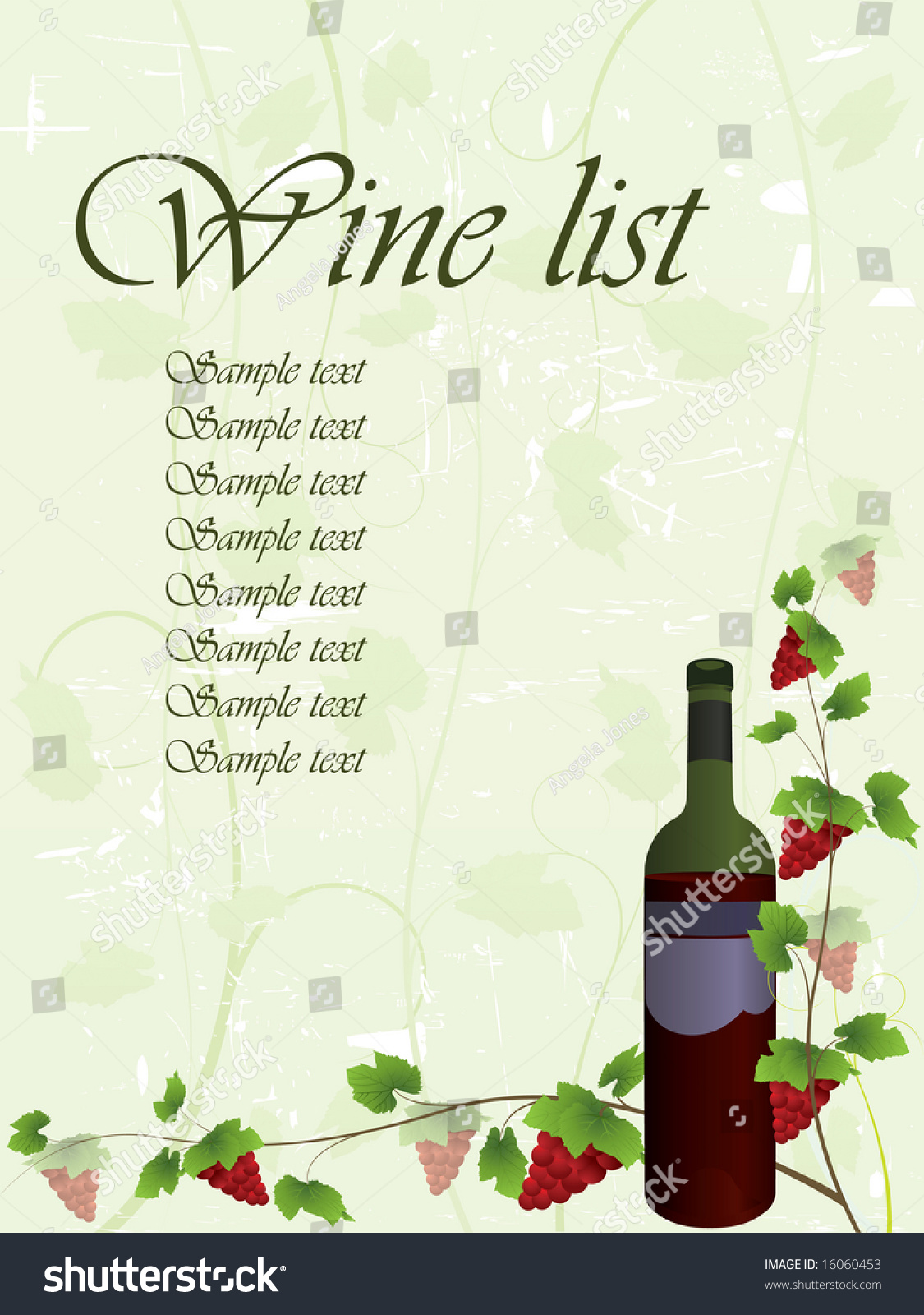 wine list background stock vector illustration 16060453