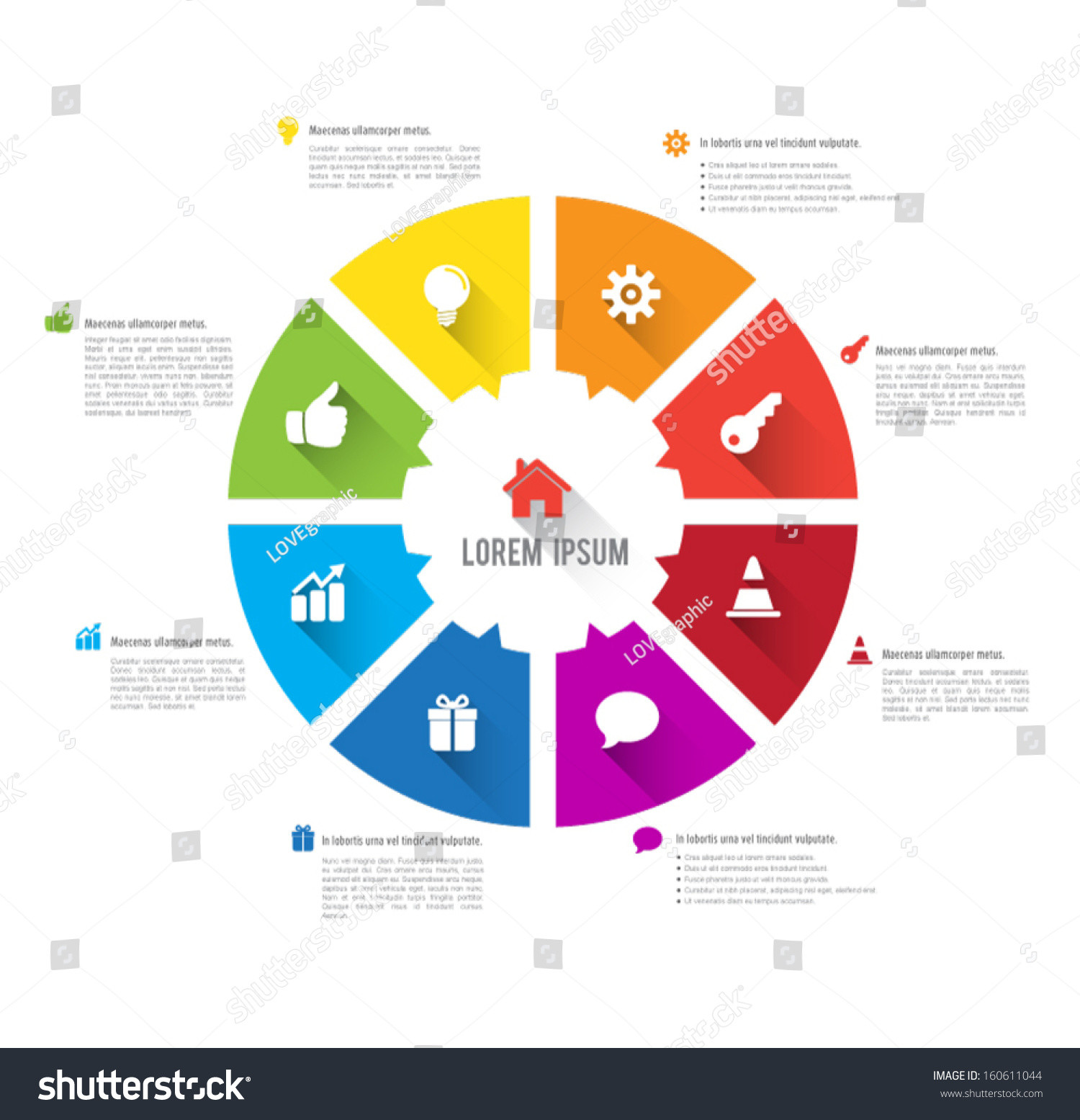 vector circle business concepts with icons long shadows can use for infographic loop business report or plan modern template education template business concepts