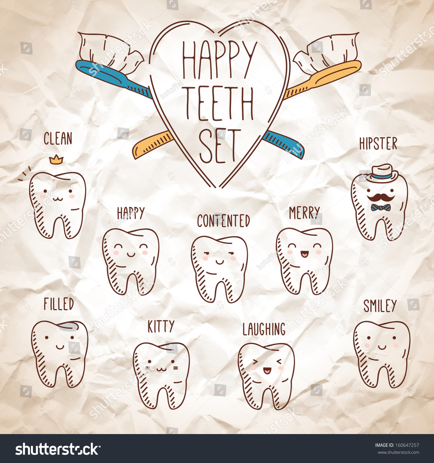 Happy Teeth Set Dental Collection Your Stock Vector ...
