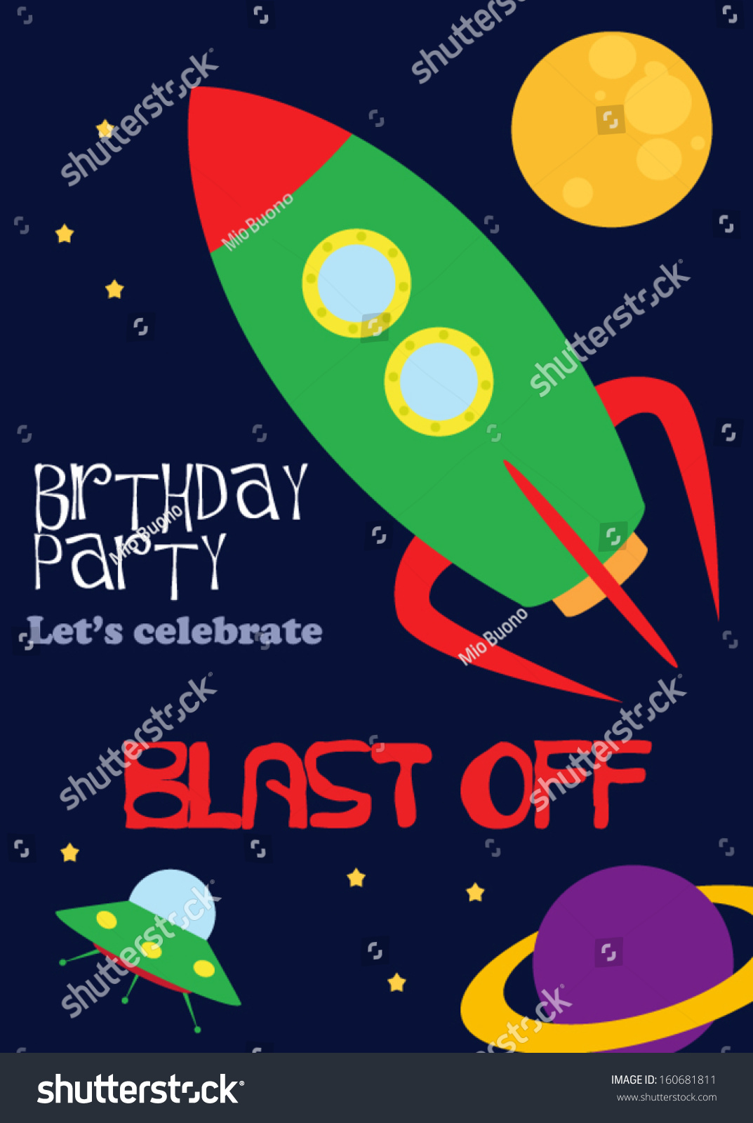 Birthday Party Invitation Vector 160681811 Shutterstock – Space Party Invitation