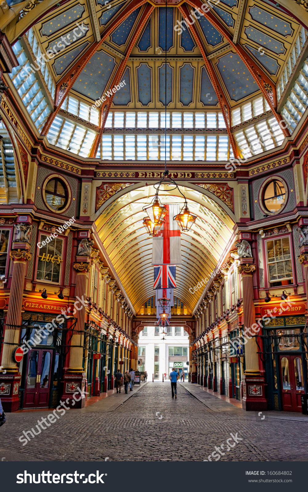 LONDON APR 5 Leadenhall covered market interior pictured on April 5th 2013 in London UK The market dates back to the 14th century and formed part of the marathon course of the 2012 Olympics