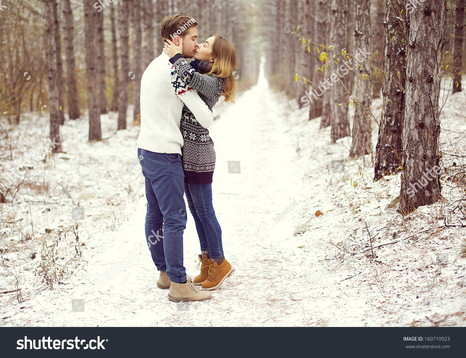Young Loving Couple On Natural Winter Stock Photo Edit Now