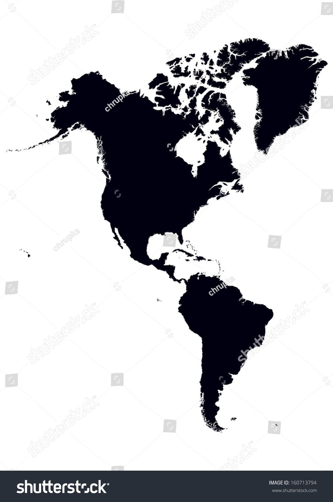 Black White Map North South America Stock Vector Royalty