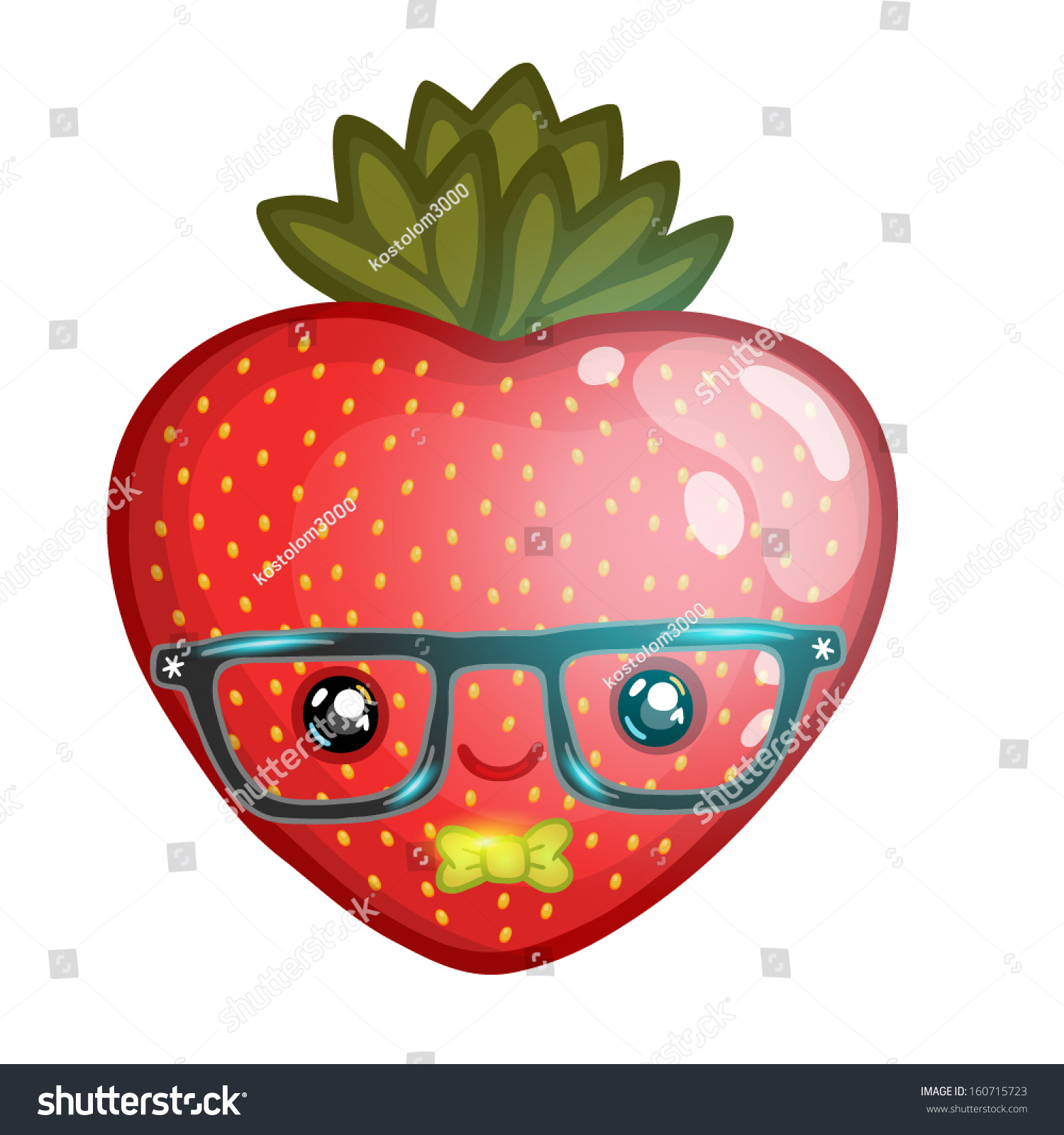 Cute Strawberry Hipster Glasses Stock Vector 160715723