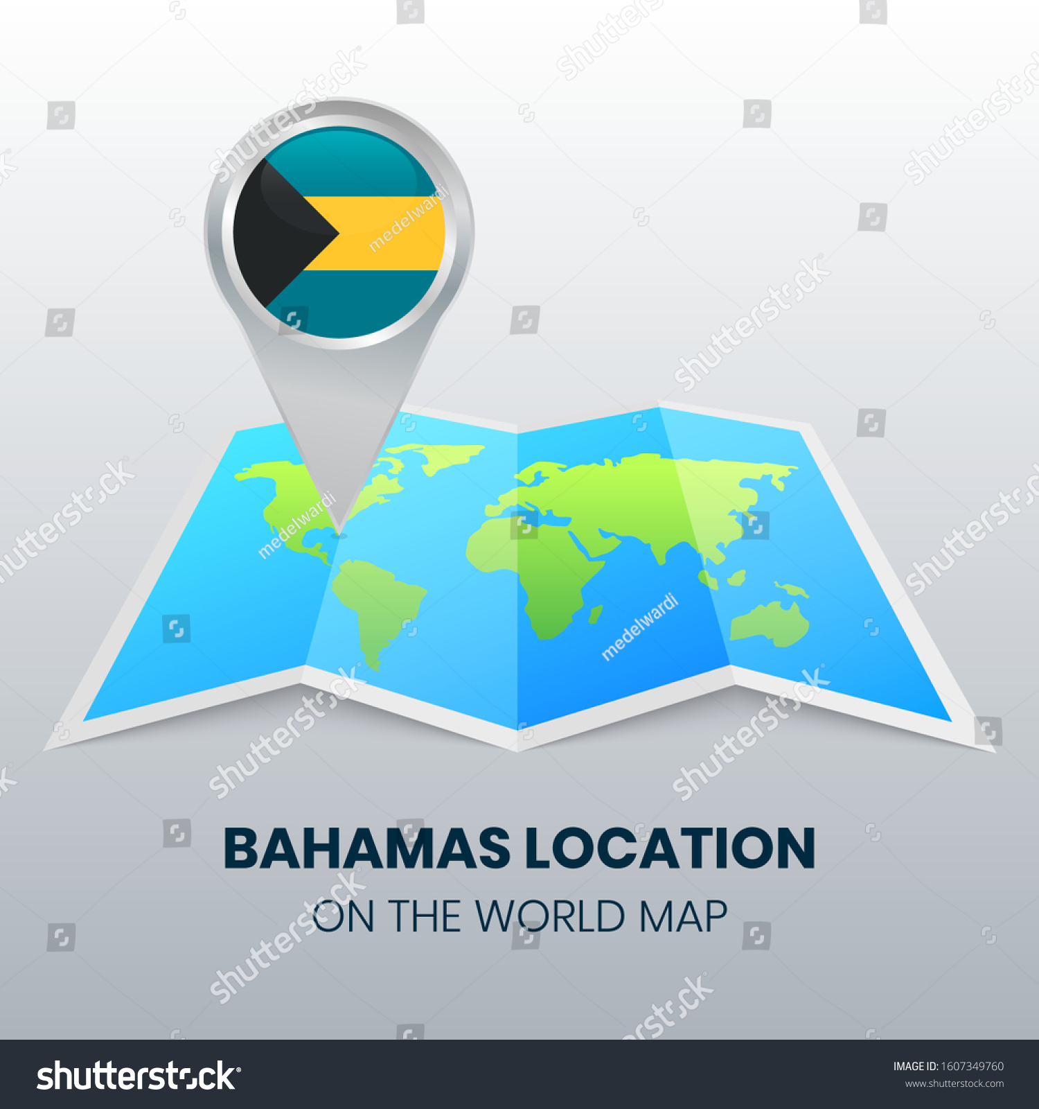 Picture of: Location Icon Bahamas On World Map Stock Vector Royalty Free 1607349760