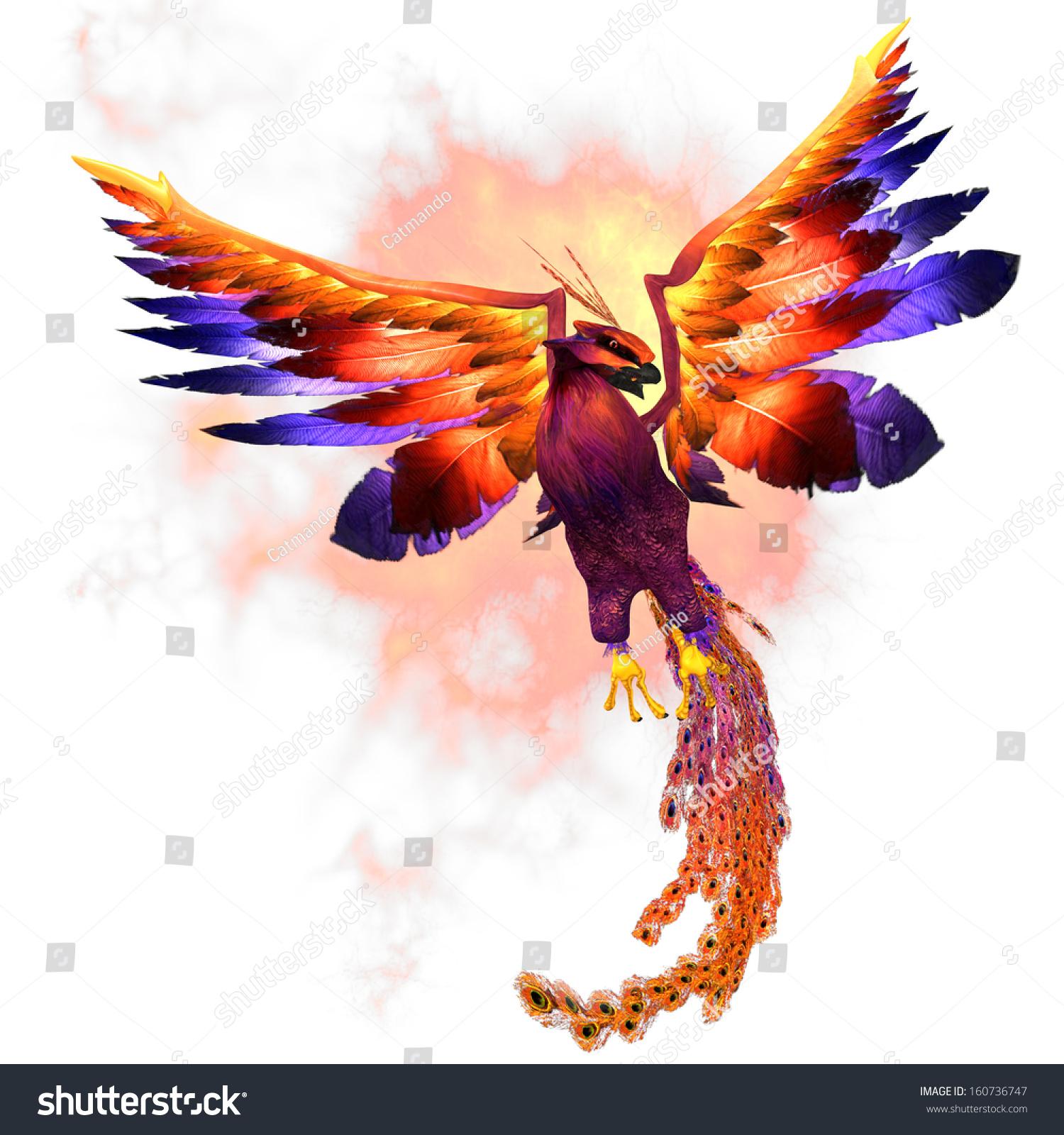 Phoenix Rising Phoenix Firebird Mythical Symbol Stock Illustration