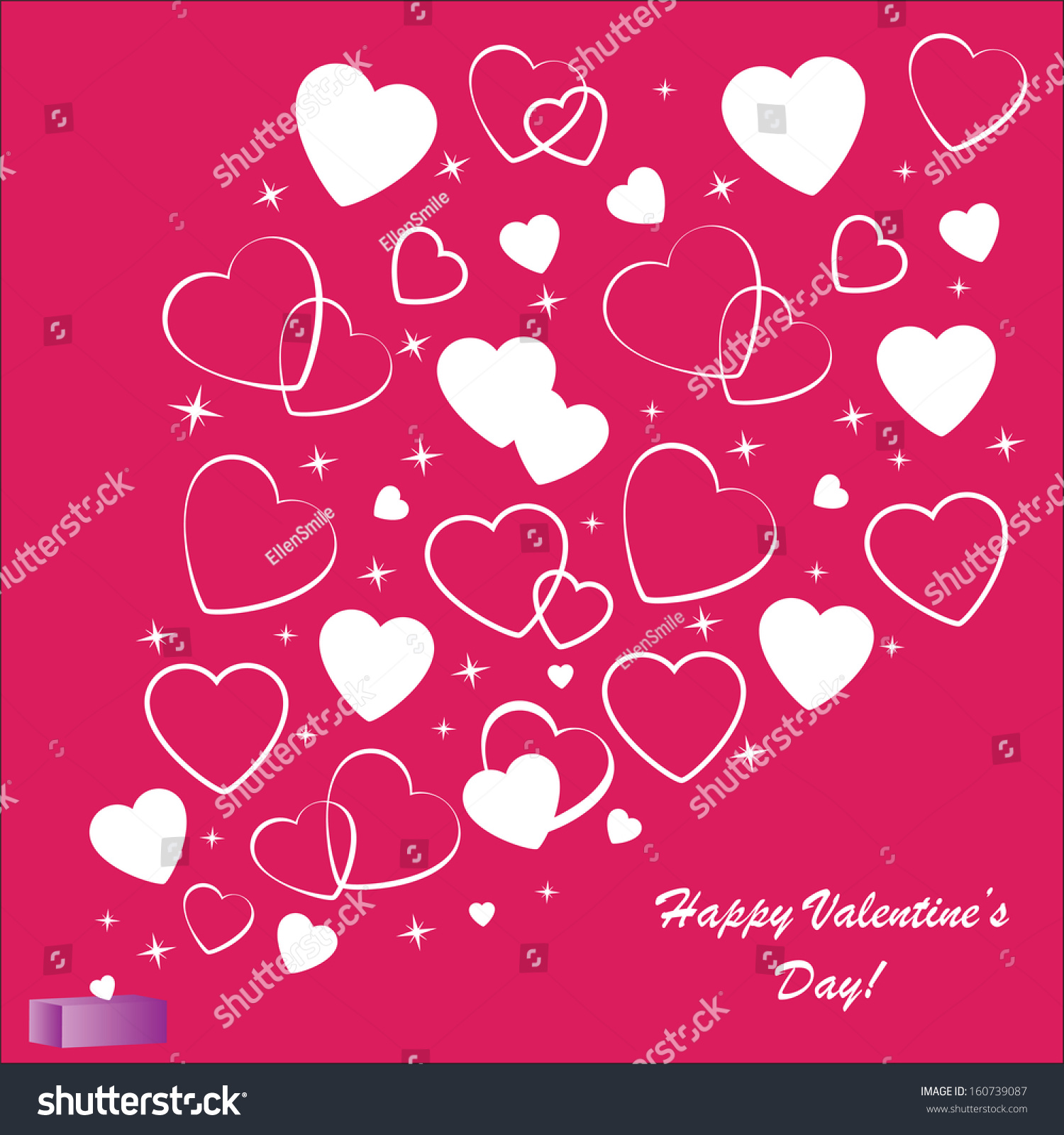 Vector Pink Abstract Flowers Texture Heart Symbol Frame Pattern