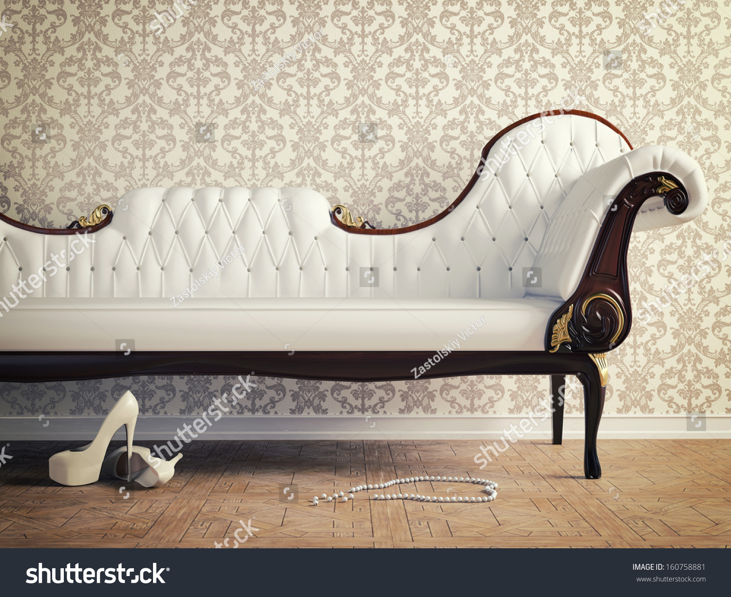 vintage sofa and wallpaper wall retro style illustration 160758881 shutterstock. Black Bedroom Furniture Sets. Home Design Ideas