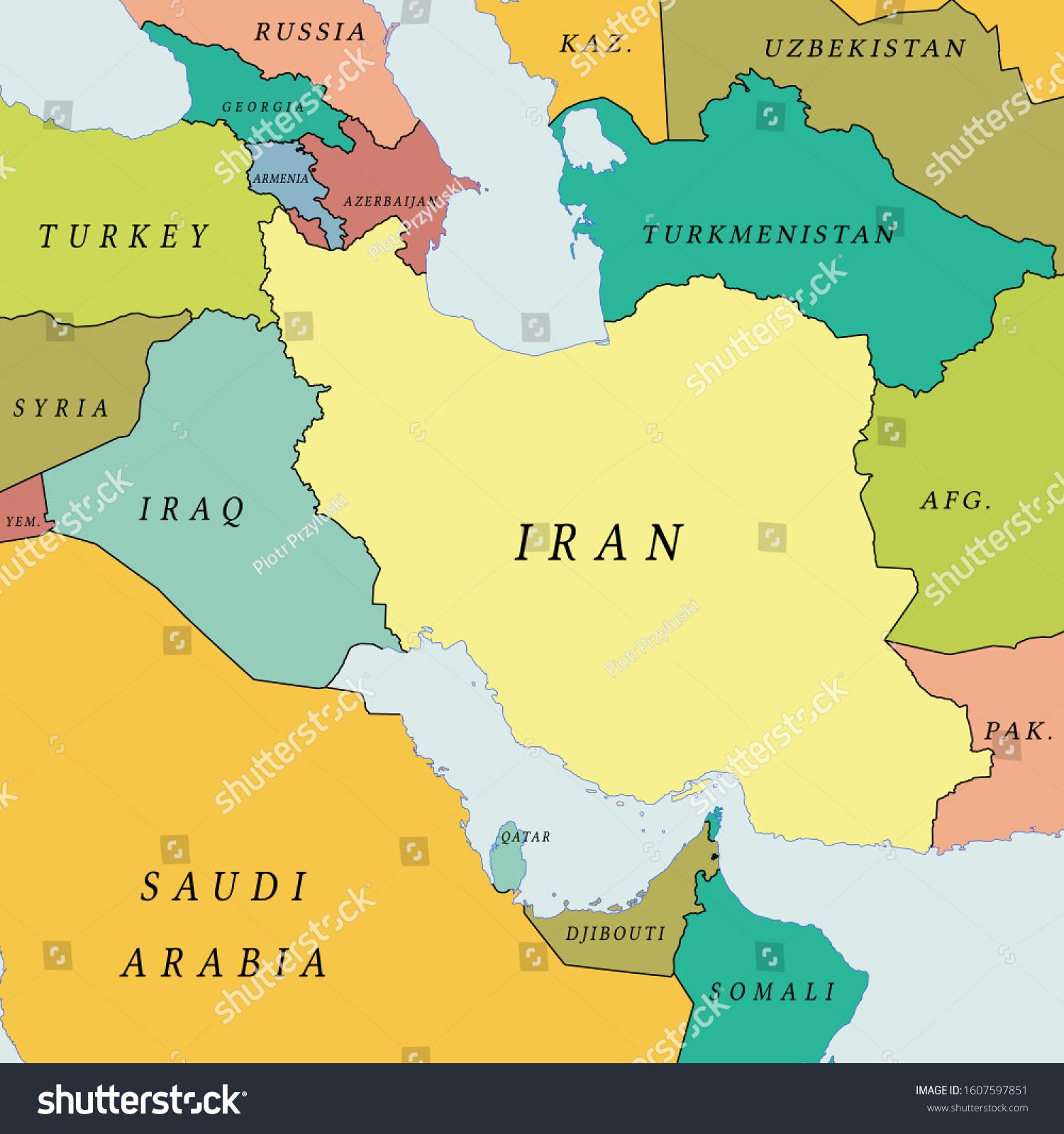 Image of: Vector De Stock Libre De Regalias Sobre Iran Middle East Political Map1607597851