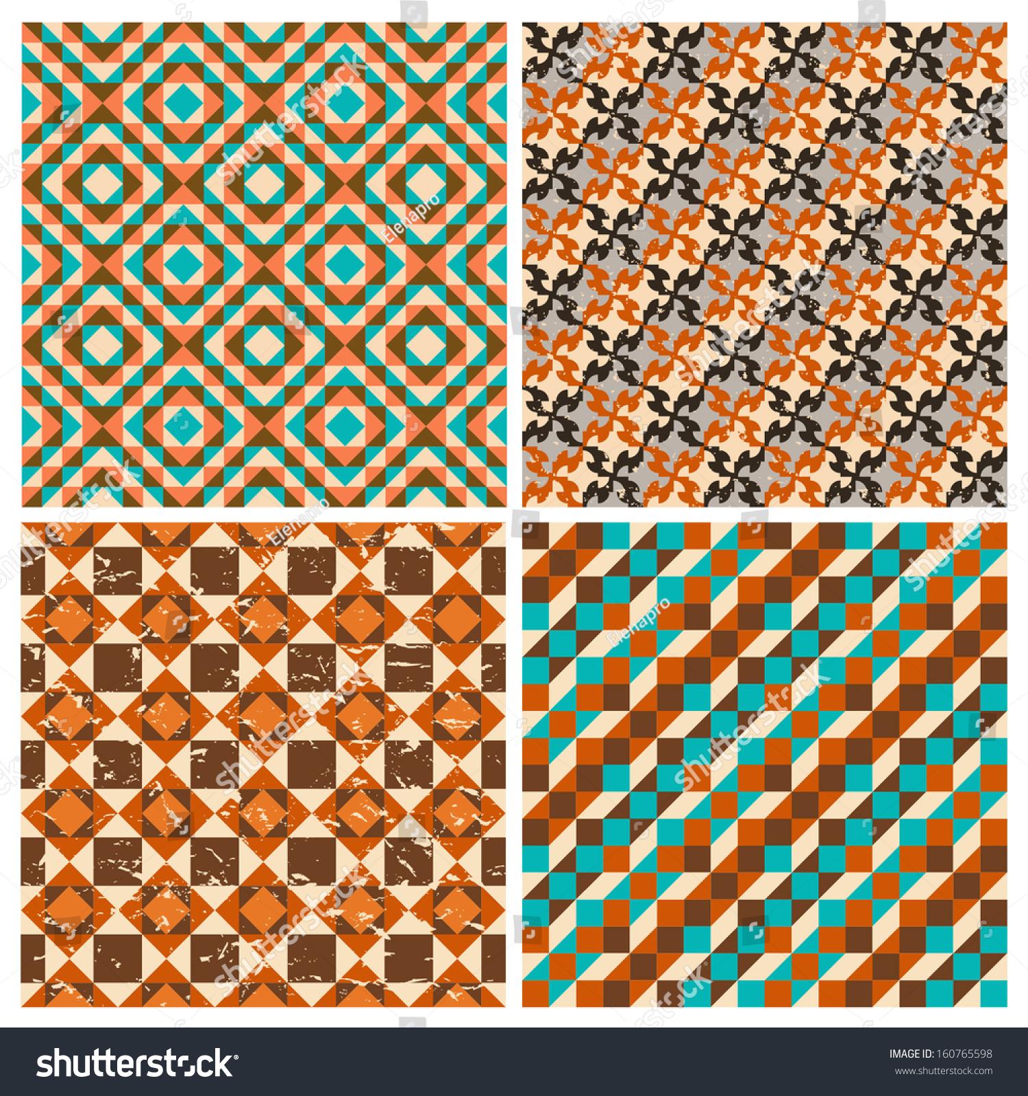 Set Seamless Geometric Retro Patterns Textiles Stock Vector