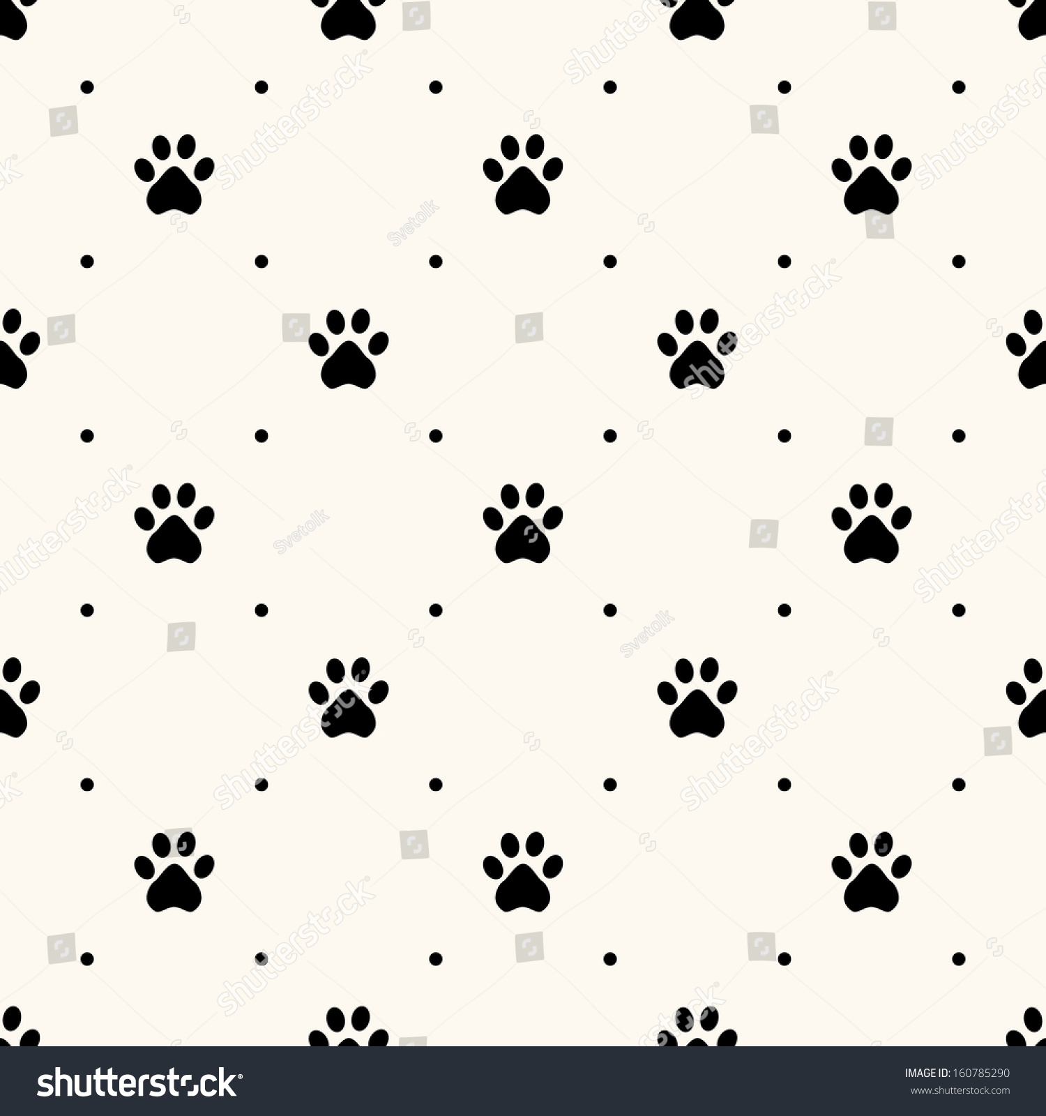 Seamless Animal Pattern Of Paw Footprint And Polka Dot Can Be Used For Wallpaper