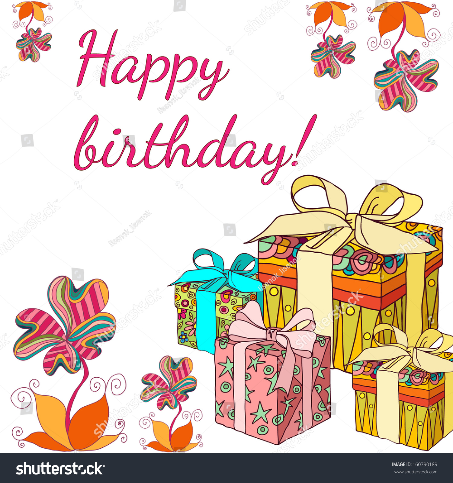 Card Happy Birthday With Cute Flowers And Gifts Ez Canvas