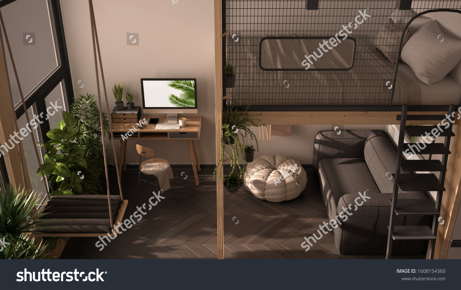 Minimalist Studio Apartment Loft Bunk Double Stock Illustration 1608154360