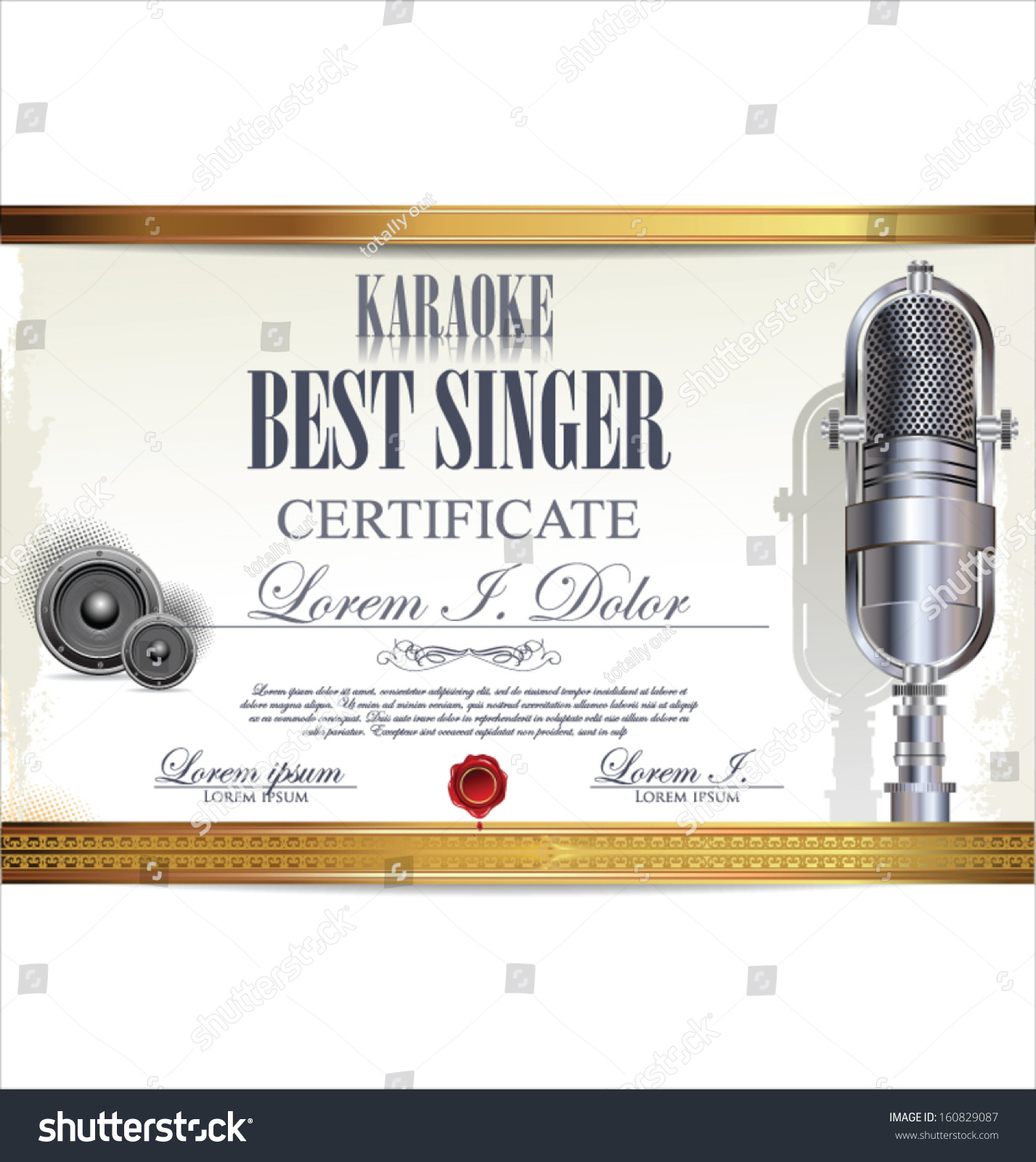 Karaoke Certificate Template Best Singer Stock Vector (Royalty Free